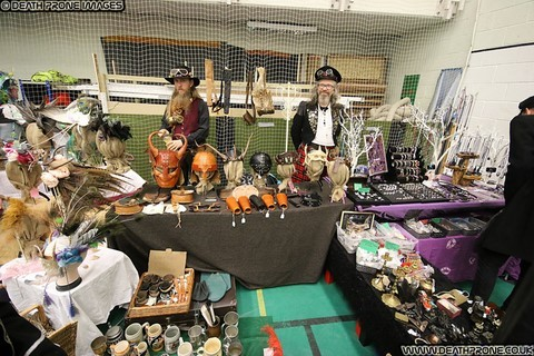 Photo of stalls at the Hastings Steampunk Extravaganza event in 2018