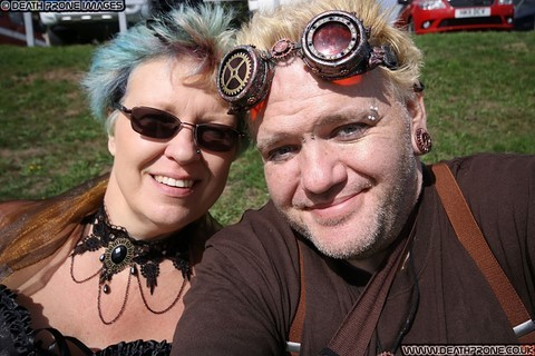 ​My partner Helen and myself at the Hastings Steampunk Extravaganza, 2018