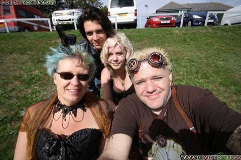 Myself, my partner Helen, my daughter Joanne and her fiance Aaron at the Hastings Steampunk Extravaganza, 2018