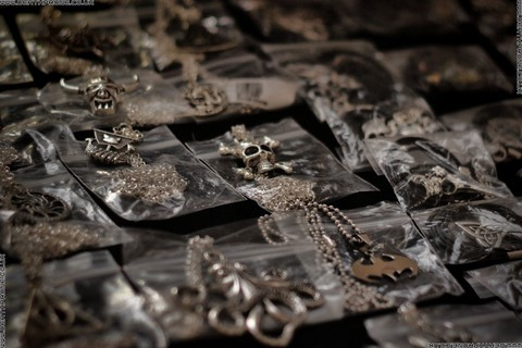 Lots of great necklaces for sale on this stall, from Pirates to Batman