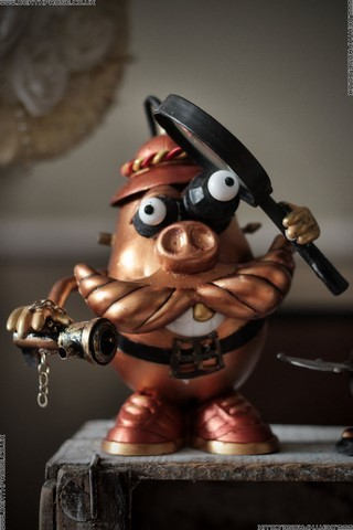 A custom made and painted steampunk style Mr Potato head