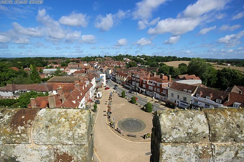The view up battle high street from the roof of Battle Abbey
